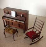 304. Upright Piano (handmade keys), Stool and Rocker